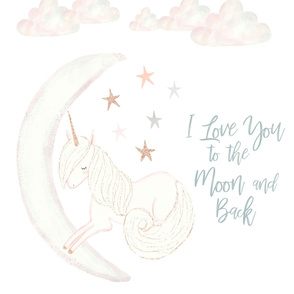 """27"""" x 36"""" // Good Night Unicorn // I Love You to the Moon and Back"""