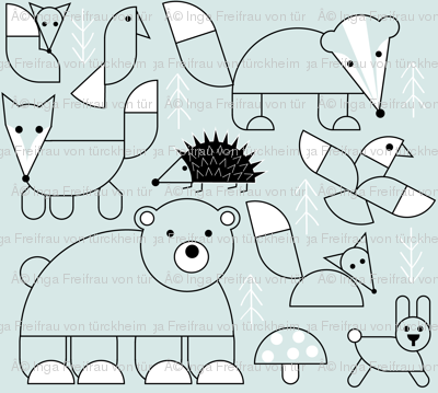 Circle Construction Woodland Animals: Neutral Nursery Wallpaper (Jumbo Size)