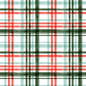 (small scale) Christmas watercolor plaid (mint) C18BS