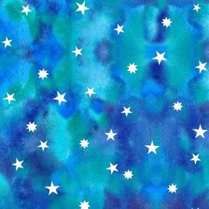 Star sky in blue watercolors