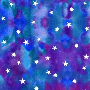 Star sky in purple and blue watercolors