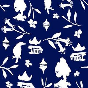 Chinoiserie pattern dark blue