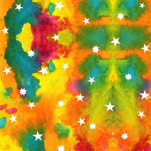 Star sky in orange and teal watercolors