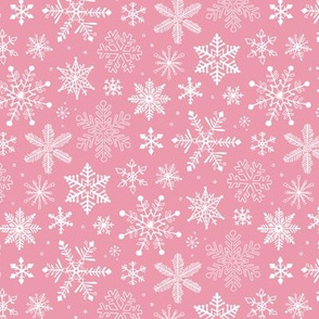 Snowflakes Christmas on Pink 1,5 inch Small
