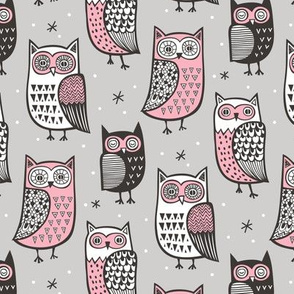 Owls Owl Woodland Fall Winter Black&White Pink on Grey