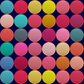 MULTICOLORES CIRCLES DOTS PAVEMENT PINK CORAL RED SPRING SUMMER