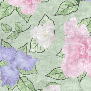 Flower Play- Large Antique Lav Pink White Green