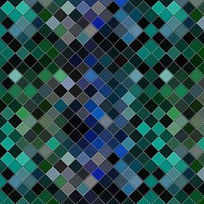 inclined diagonal ceramic tiles swimming pool multicolor blue sap green winter