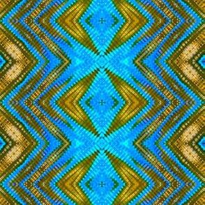 Multi Blue & Bronze Diamond Stripes