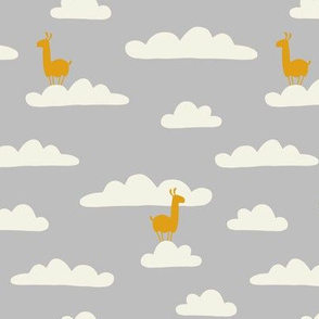 Llama in the clouds (gray)