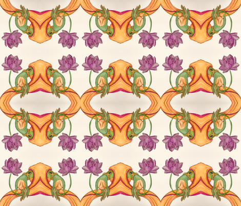 Buddha's hand with Lotus on Cream Background fabric by rubychilde on Spoonflower - custom fabric