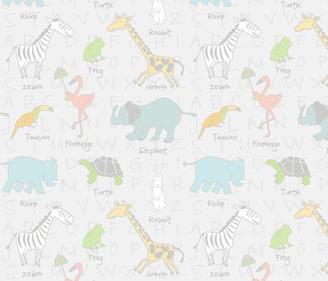 Sweet Zoo Animals Neutral Nursery fabric by tinastextiles on Spoonflower - custom fabric