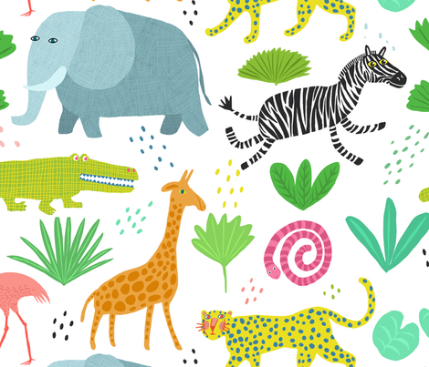 JUNGLE WALLPAPER fabric by nadinewestcott on Spoonflower - custom fabric