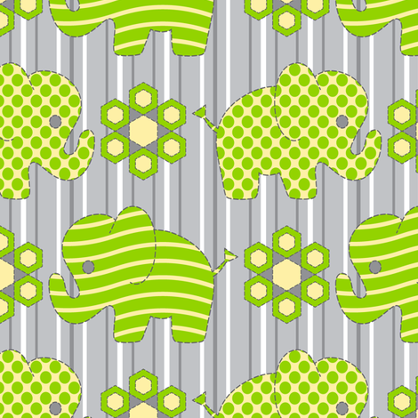 Pachyderm Parade (chartreuse) fabric by jjtrends on Spoonflower - custom fabric