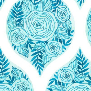 Floral  Ogee - Cerulean Blue