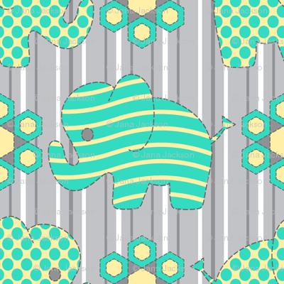 Pachyderm Parade (aqua)