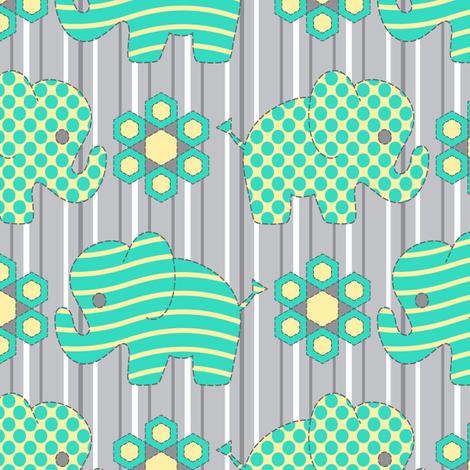 Pachyderm Parade (aqua) fabric by jjtrends on Spoonflower - custom fabric