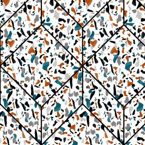 Teal and orange terrazzo tiles
