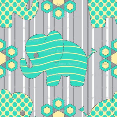 Pachyderm Parade (aqua) Lg