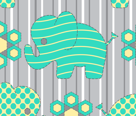 Pachyderm Parade (aqua) Lg fabric by jjtrends on Spoonflower - custom fabric