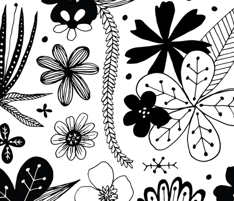 black and white flowers fabric by swoldham on Spoonflower - custom fabric