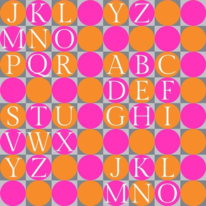 alphabet blocks - bright orange and pink