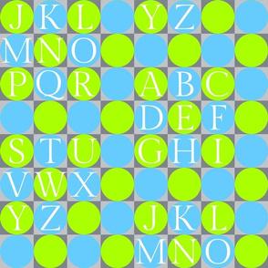alphabet blocks - green and turquoise