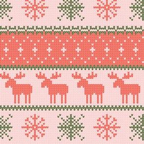 fair isle moose (pink/green) || winter knits
