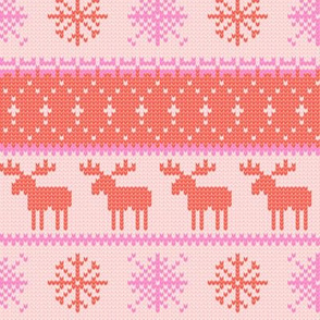 fair isle moose (pink) || winter knits