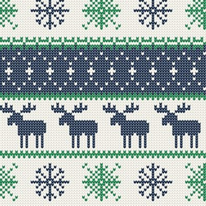 fair isle moose (blue/green) || winter knits