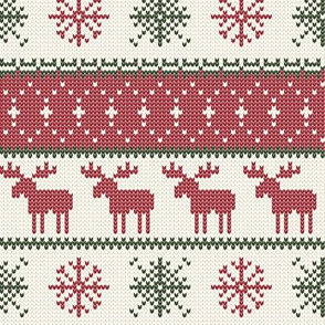 fair isle moose (cream/red/green) || winter knits