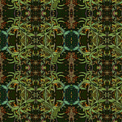 Sage Leaves Geometric Art Nouveau Fractal Pattern