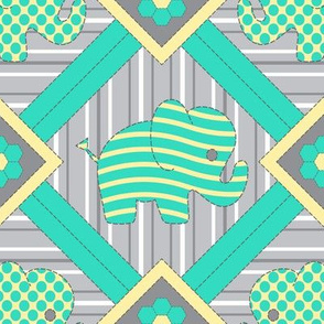 Quilted Pachyderms (aqua)
