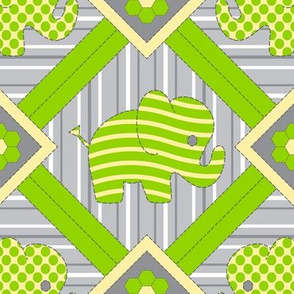 Quilted Pachyderms (chartreuse)