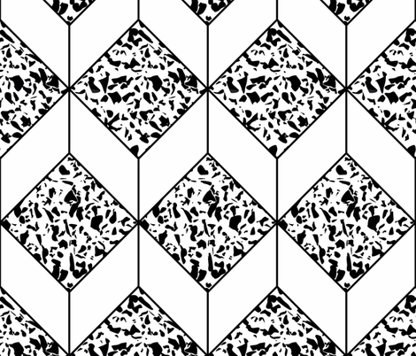Black and white terrazzo tiles giftwrap - kaldreacollections