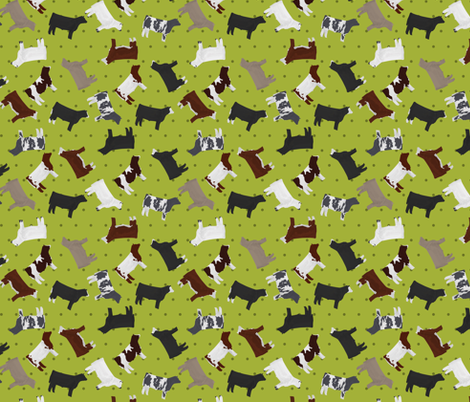 Steers Mixed Breed Lime Polkadot fabric by thecraftyblackbird on Spoonflower - custom fabric