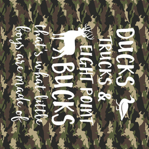 "(42"" yard panel) Ducks, Trucks, and Eight Point Bucks - what little boys are made of - camo"