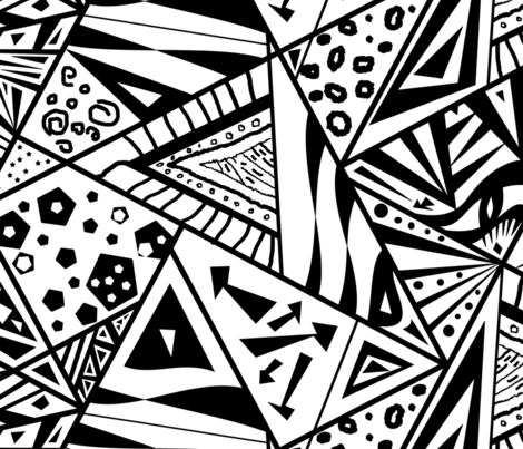 large scale black and white fabric by pamelachi on Spoonflower - custom fabric