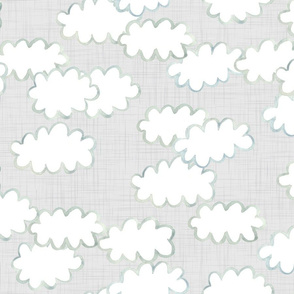 Simple Painted Clouds on Linen Background