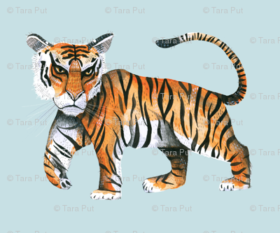 Watercolour Tiger on Robin's Egg Blue - Extra Large Scale