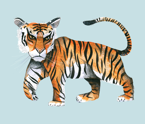 Watercolour Tiger on Robin's Egg Blue - Extra Large Scale fabric by taraput on Spoonflower - custom fabric
