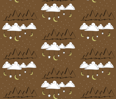 Neutral Nursery Clouds and Mountains- Brown fabric by huffernickel on Spoonflower - custom fabric