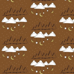 Neutral Nursery Clouds and Mountains- Brown