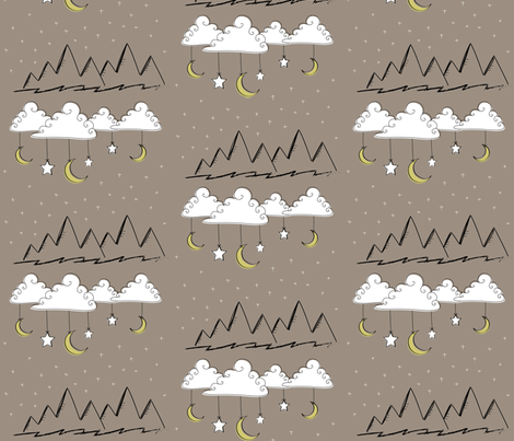 Neutral Nursery Clouds and Mountains fabric by huffernickel on Spoonflower - custom fabric