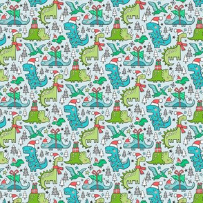 Christmas Holidays Dinosaurs & Trees on Light Blue Smaller Tiny 1,25 Inch