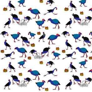 Pukeko and Takahe Xmas on white