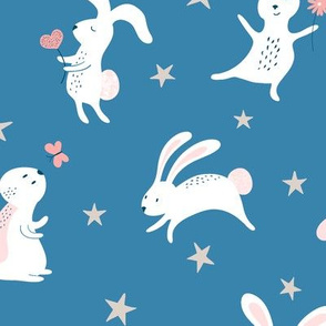 happy bunnies with stars - blue