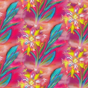 oil painted flower pink coral turquoise yellow effect 3