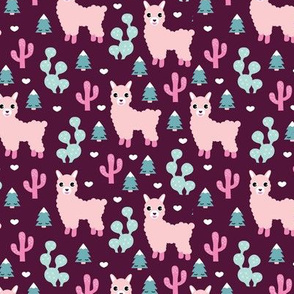 Christmas trees and seasonal llama holiday cactus tree print maroon pink girls