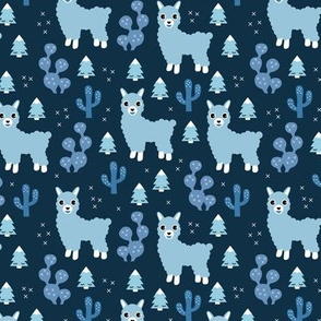 Christmas trees and seasonal llama holiday cactus tree print navy blue boys